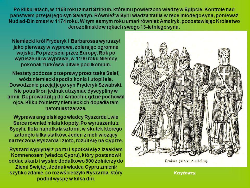 Po kilku latach, w 1169 roku zmarł Szirkuh, któremu powierzono władzę w Egipcie. Kontrole nad państwem przejął jego syn Saladyn. Również w Syrii władza trafiła w ręce młodego syna, ponieważ Nud ad-Din zmarł w 1174 roku. W tym samym roku umarł również Amalryk, pozostawiając Królestwo Jerozolimskie w rękach swego 13-letniego syna.