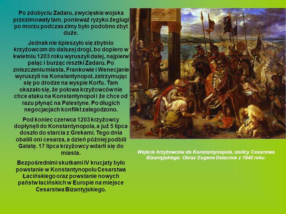 Po zdobyciu Zadaru, zwycięskie wojska przezimowały tam, ponieważ ryzyko żeglugi po morzu podczas zimy było podobno zbyt duże.