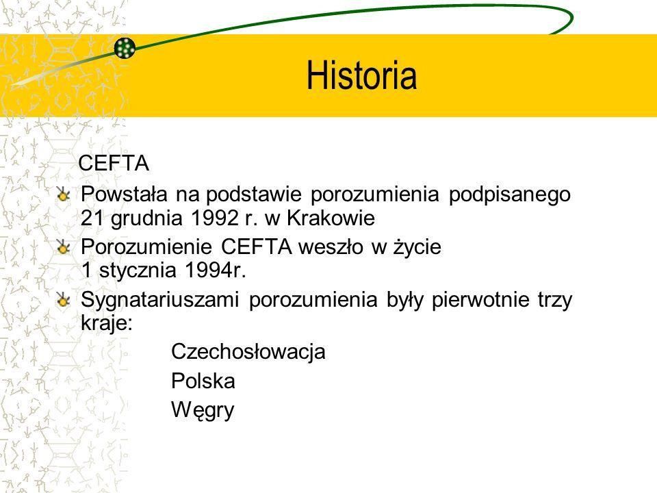 Historia CEFTA. Powstała na podstawie porozumienia podpisanego 21 grudnia 1992 r. w Krakowie.