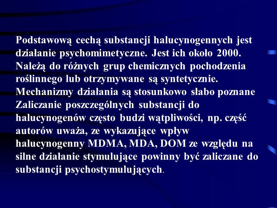 Podstawową cechą substancji halucynogennych jest działanie psychomimetyczne.