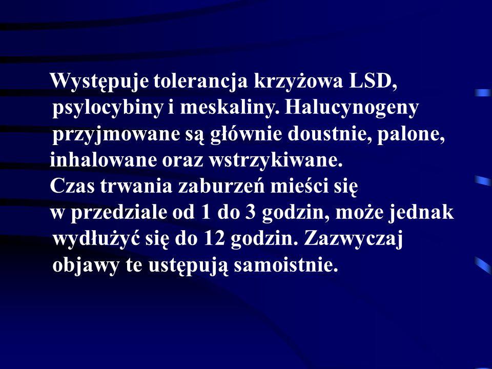 Występuje tolerancja krzyżowa LSD, psylocybiny i meskaliny
