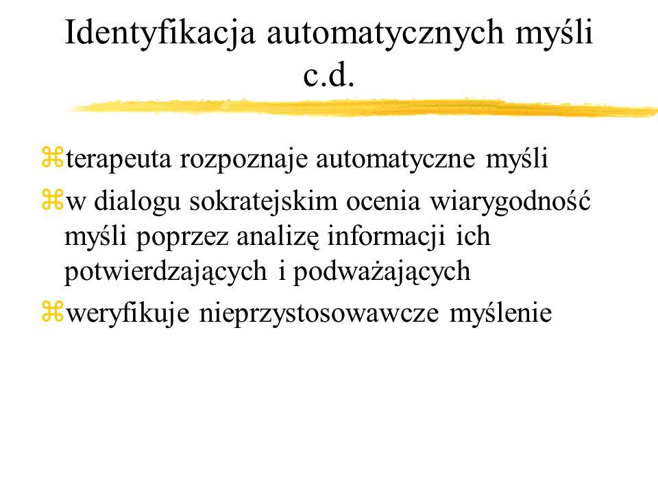 Identyfikacja automatycznych myśli c.d.