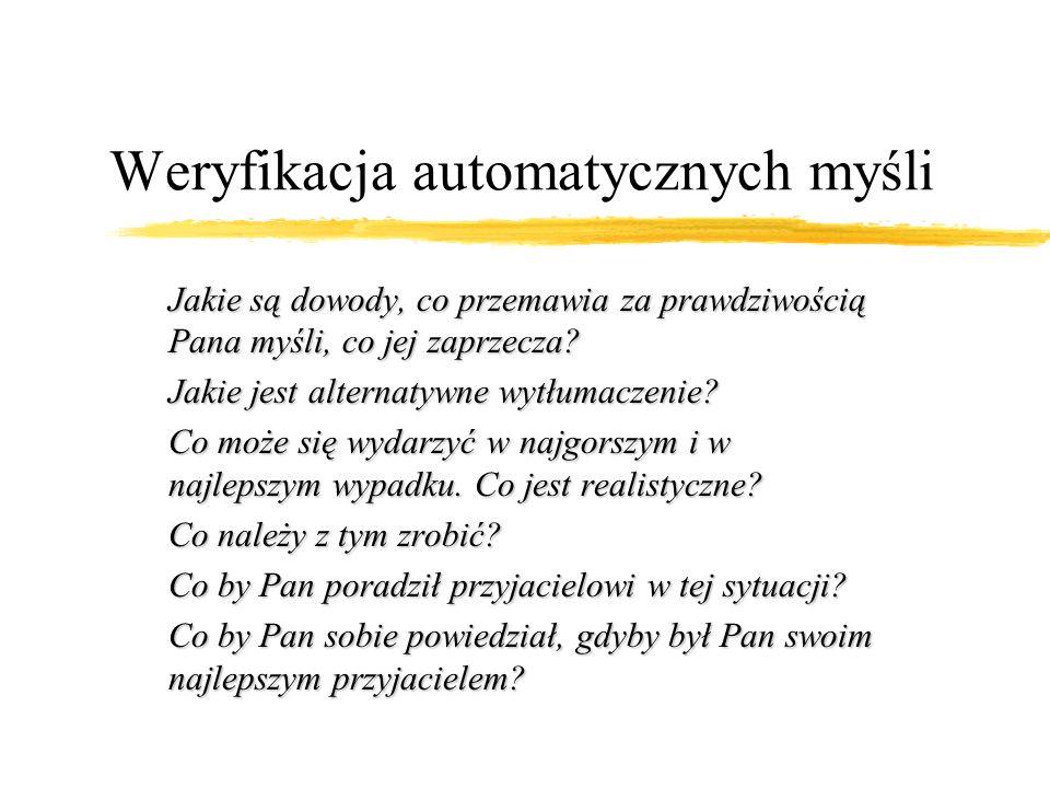 Weryfikacja automatycznych myśli