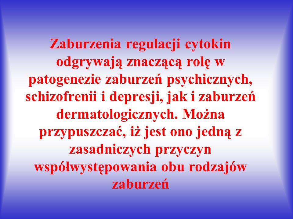 Zaburzenia regulacji cytokin odgrywają znaczącą rolę w patogenezie zaburzeń psychicznych, schizofrenii i depresji, jak i zaburzeń dermatologicznych.