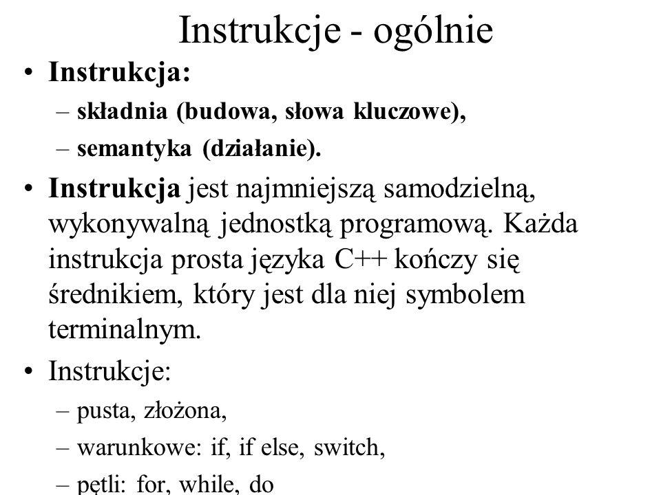 Instrukcje - ogólnie Instrukcja: