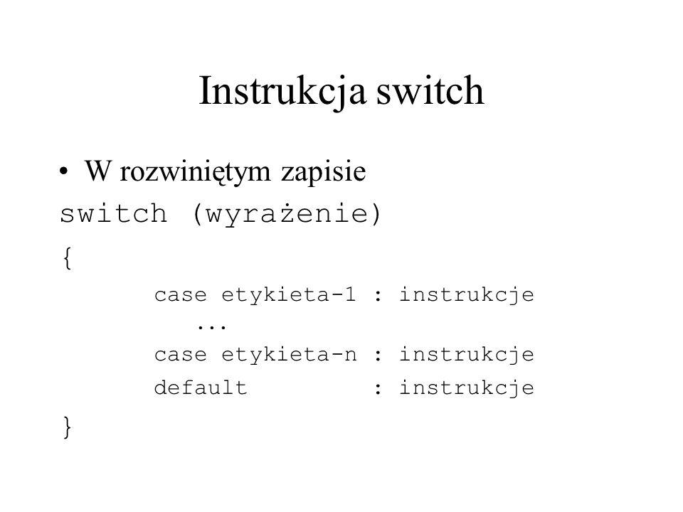 Instrukcja switch W rozwiniętym zapisie switch (wyrażenie) { }