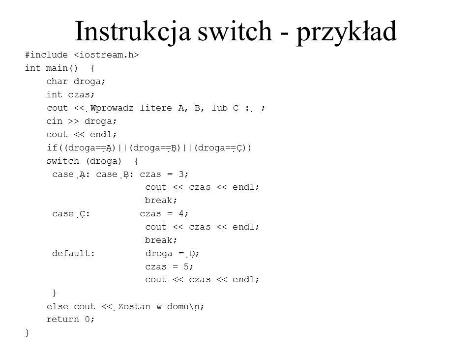 Instrukcja switch - przykład