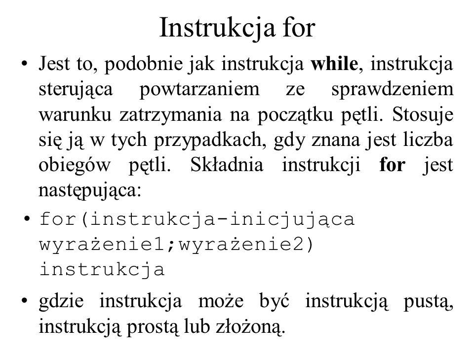 Instrukcja for