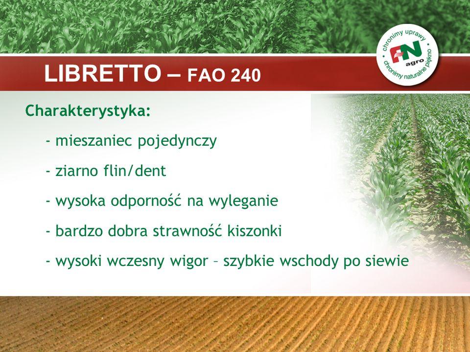 LIBRETTO – FAO 240 Charakterystyka: - ziarno flin/dent