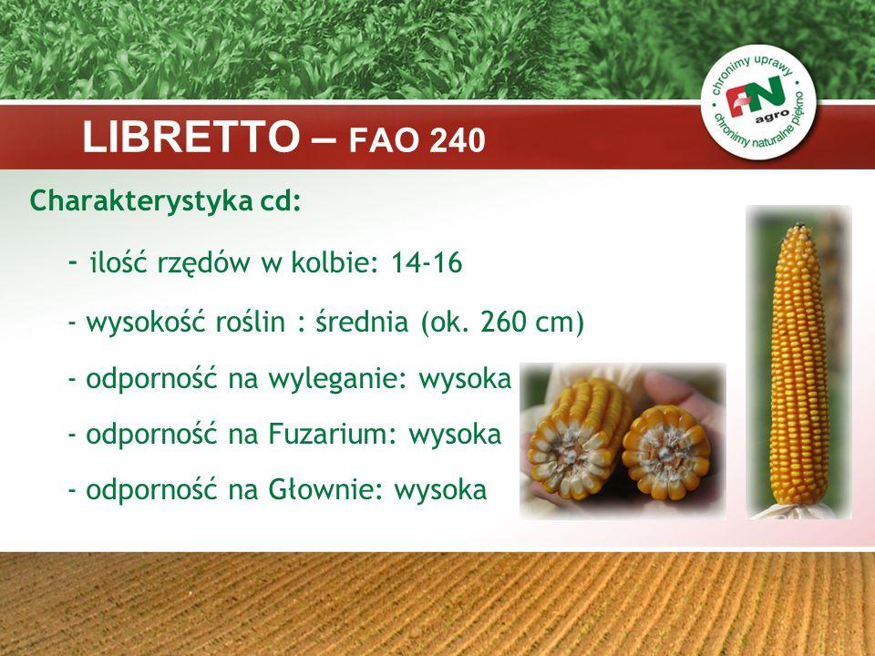 LIBRETTO – FAO 240 Charakterystyka cd: - ilość rzędów w kolbie: 14-16