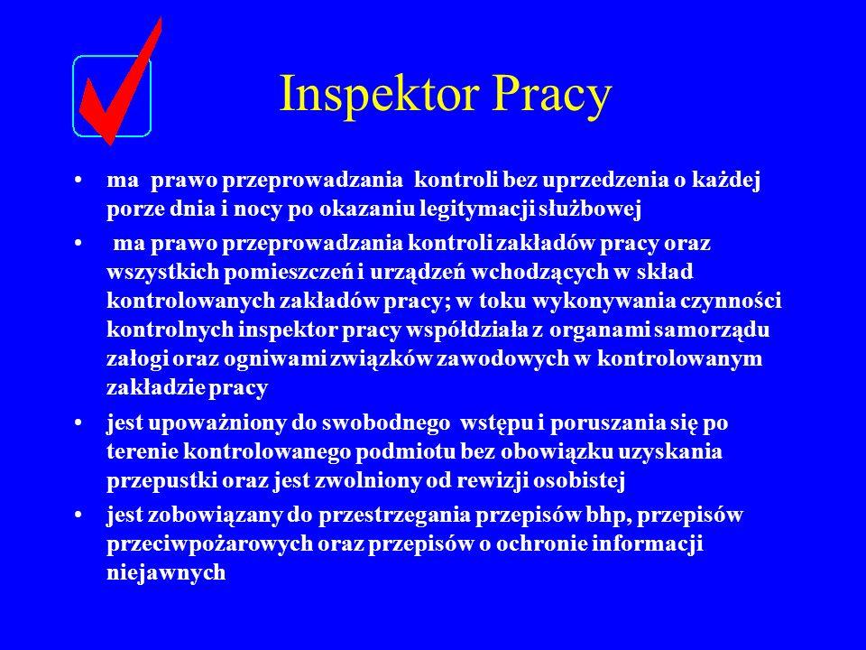 Inspektor Pracy ma prawo przeprowadzania kontroli bez uprzedzenia o każdej porze dnia i nocy po okazaniu legitymacji służbowej.