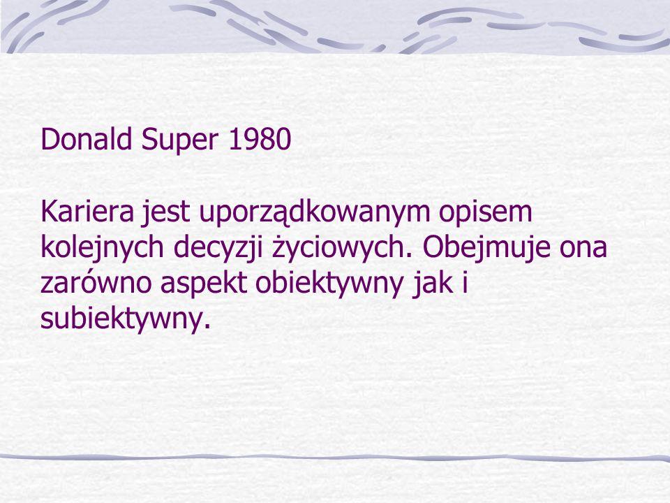 Donald Super 1980 Kariera jest uporządkowanym opisem kolejnych decyzji życiowych.