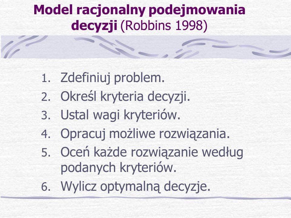 Model racjonalny podejmowania decyzji (Robbins 1998)