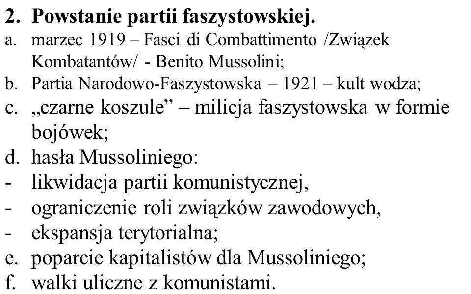 Powstanie partii faszystowskiej.
