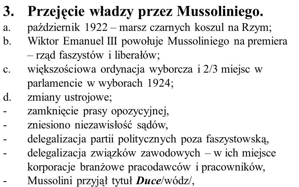 Przejęcie władzy przez Mussoliniego.