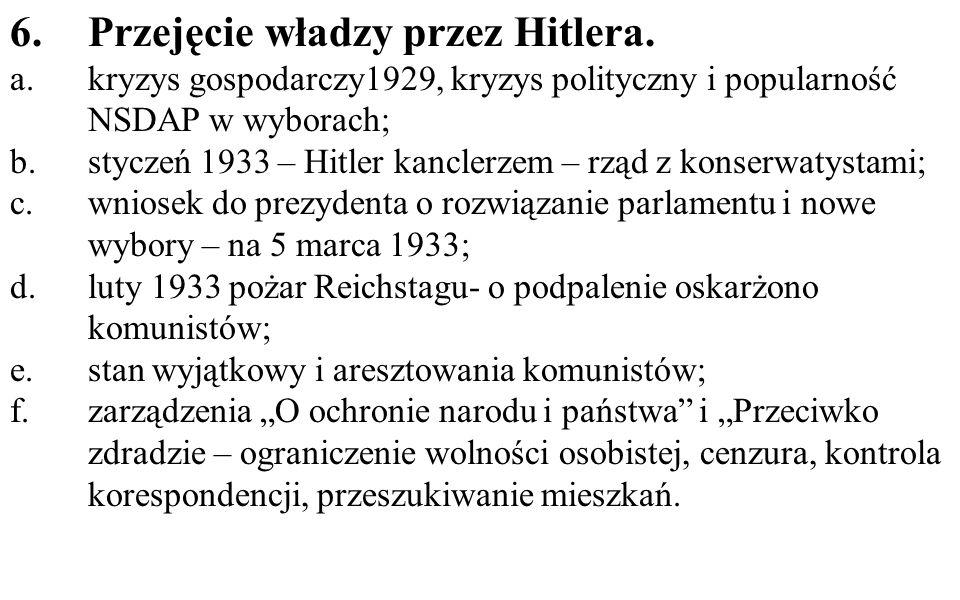 Przejęcie władzy przez Hitlera.
