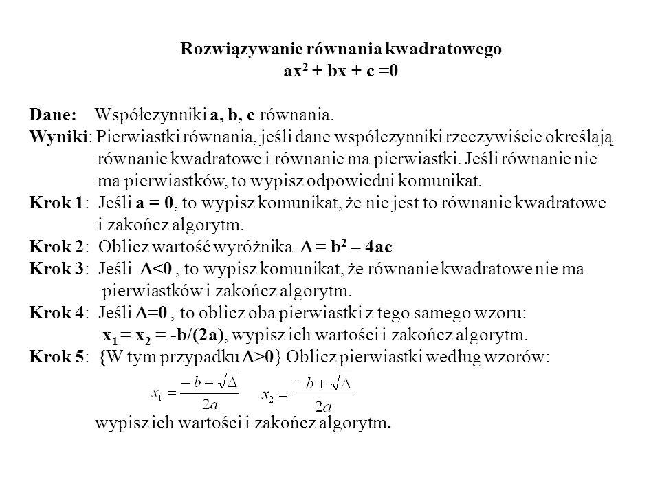 Rozwiązywanie równania kwadratowego