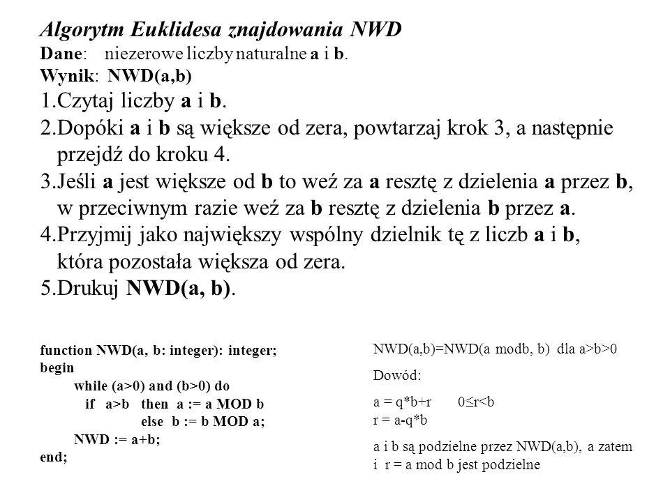 Algorytm Euklidesa znajdowania NWD