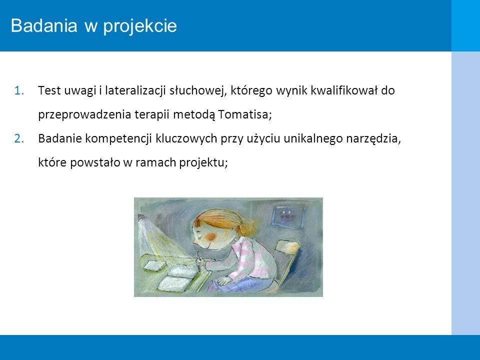 Badania w projekcieTest uwagi i lateralizacji słuchowej, którego wynik kwalifikował do przeprowadzenia terapii metodą Tomatisa;