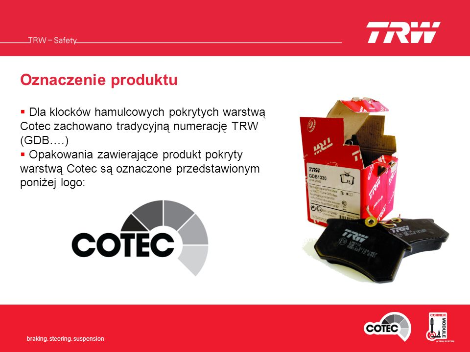 Oznaczenie produktu Dla klocków hamulcowych pokrytych warstwą Cotec zachowano tradycyjną numerację TRW (GDB….)