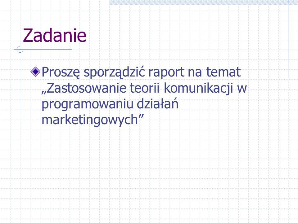 """Zadanie Proszę sporządzić raport na temat """"Zastosowanie teorii komunikacji w programowaniu działań marketingowych"""