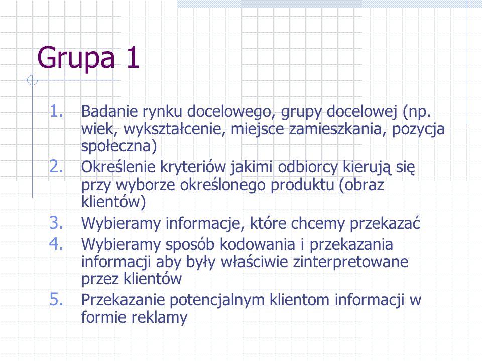 Grupa 1 Badanie rynku docelowego, grupy docelowej (np. wiek, wykształcenie, miejsce zamieszkania, pozycja społeczna)