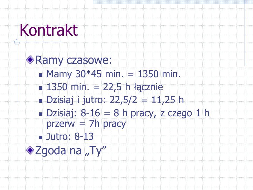"""Kontrakt Ramy czasowe: Zgoda na """"Ty Mamy 30*45 min. = 1350 min."""