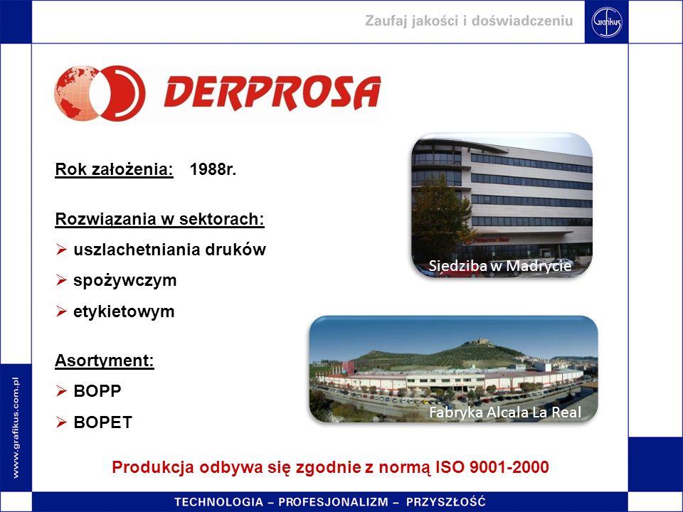 Produkcja odbywa się zgodnie z normą ISO 9001-2000