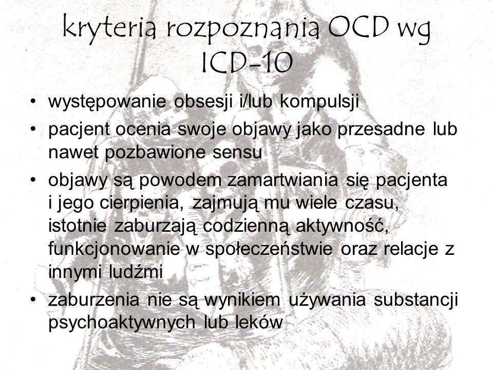 kryteria rozpoznania OCD wg ICD-10