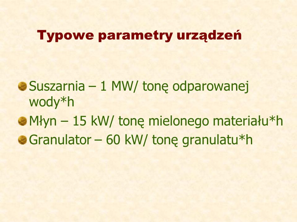 Typowe parametry urządzeń
