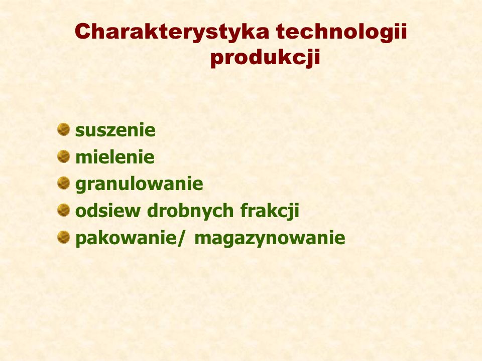 Charakterystyka technologii produkcji