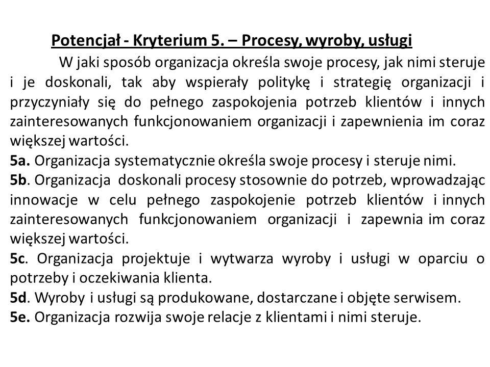 Potencjał - Kryterium 5. – Procesy, wyroby, usługi