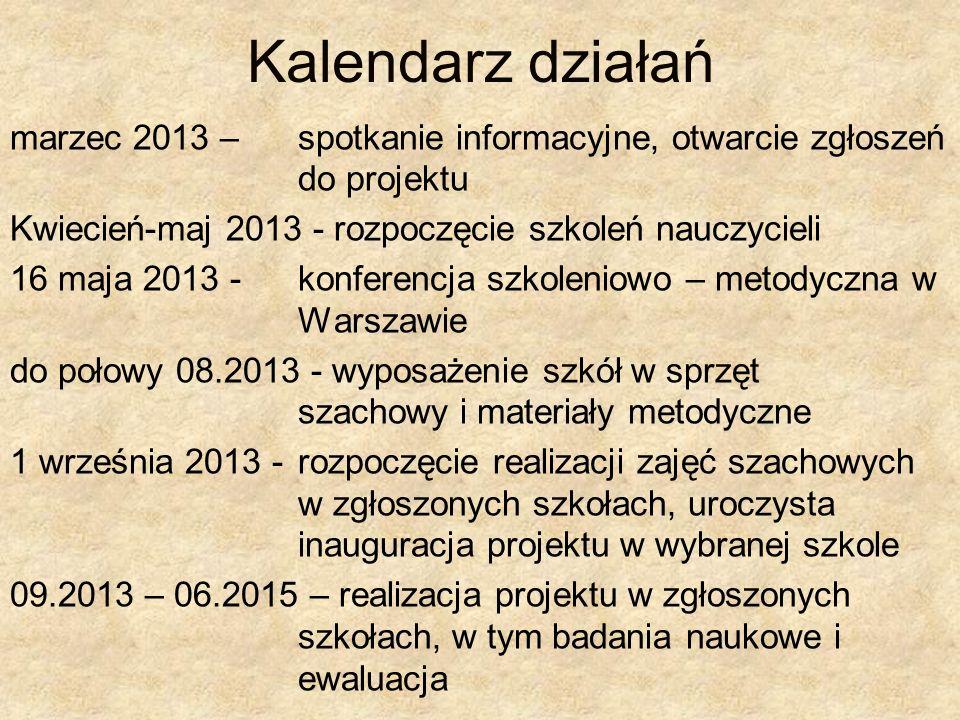 Kalendarz działań marzec 2013 – spotkanie informacyjne, otwarcie zgłoszeń do projektu. Kwiecień-maj 2013 - rozpoczęcie szkoleń nauczycieli.