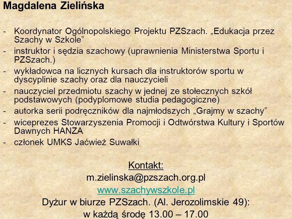 Dyżur w biurze PZSzach. (Al. Jerozolimskie 49):