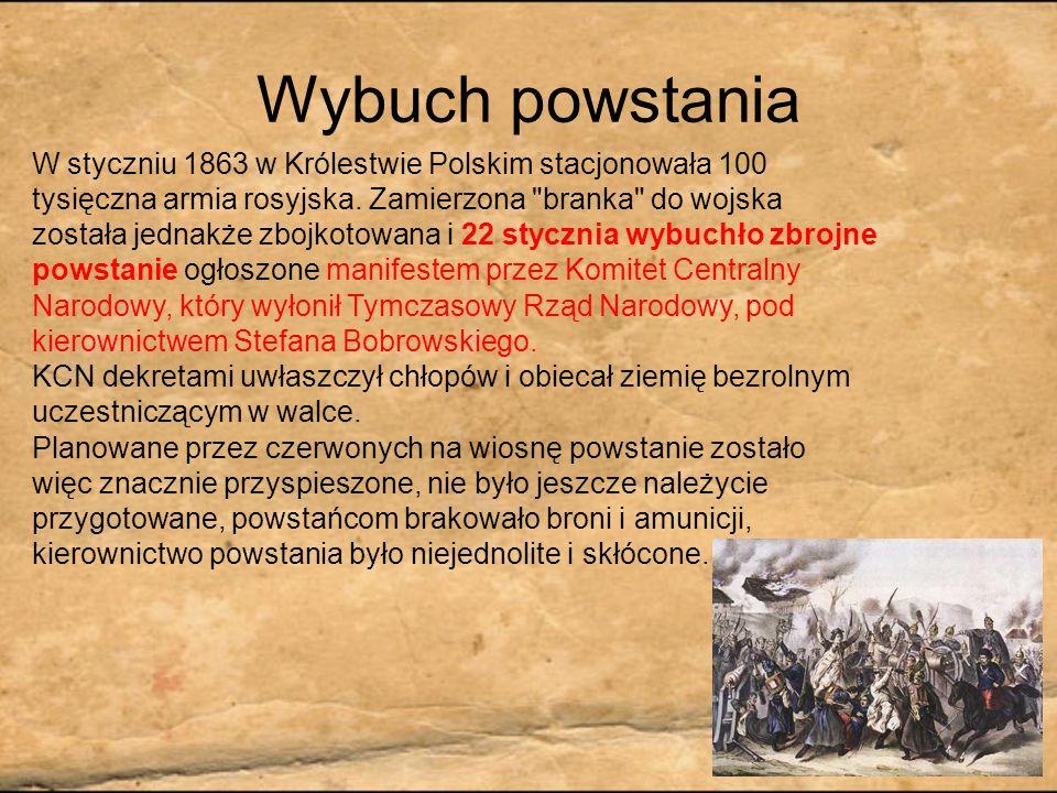 Wybuch powstania W styczniu 1863 w Królestwie Polskim stacjonowała 100