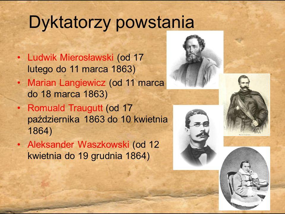 Dyktatorzy powstaniaLudwik Mierosławski (od 17 lutego do 11 marca 1863) Marian Langiewicz (od 11 marca do 18 marca 1863)