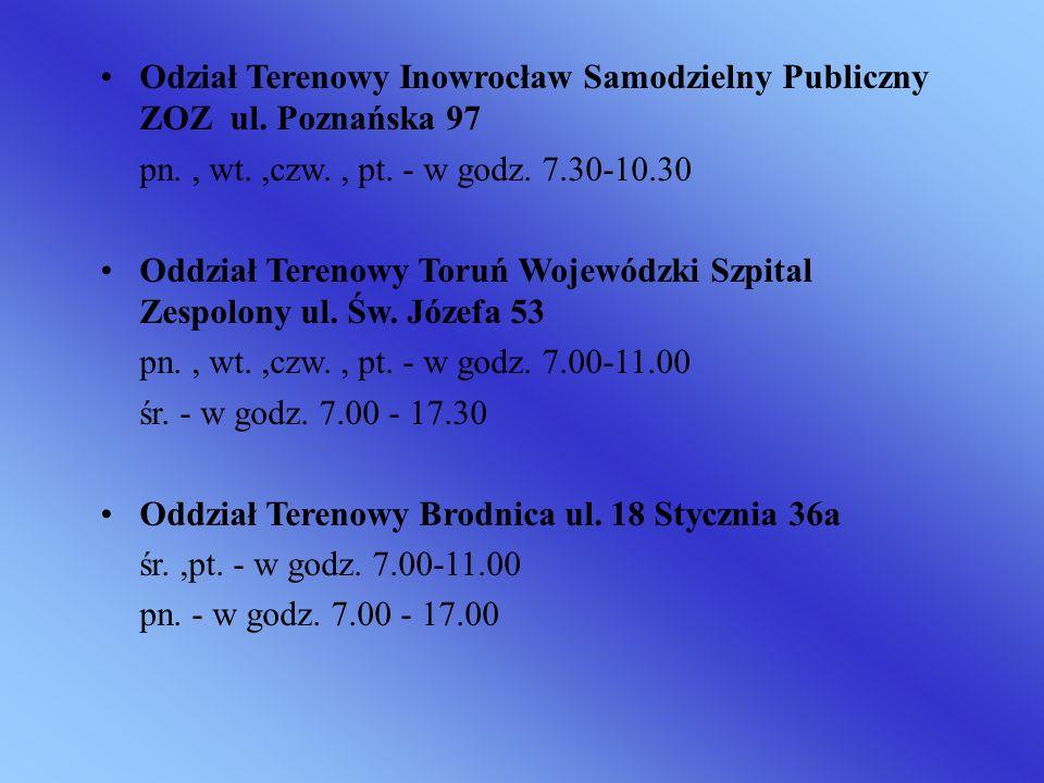 Odział Terenowy Inowrocław Samodzielny Publiczny ZOZ ul. Poznańska 97