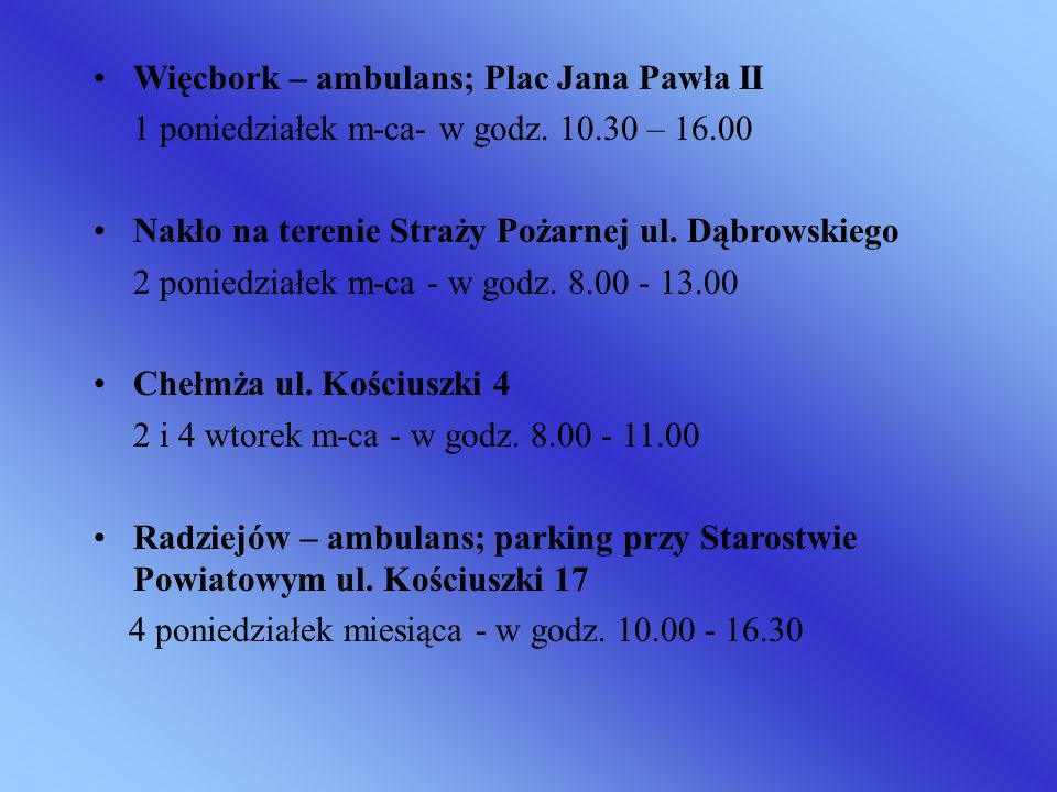 Więcbork – ambulans; Plac Jana Pawła II