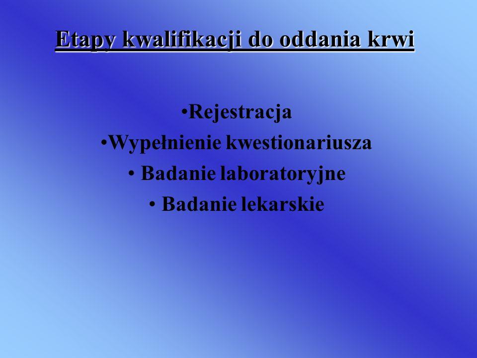 Etapy kwalifikacji do oddania krwi