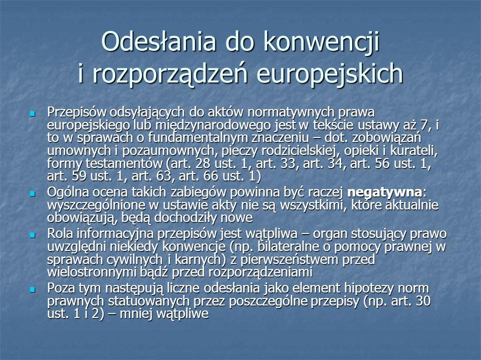 Odesłania do konwencji i rozporządzeń europejskich