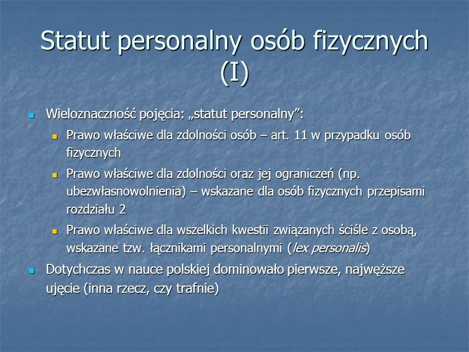Statut personalny osób fizycznych (I)