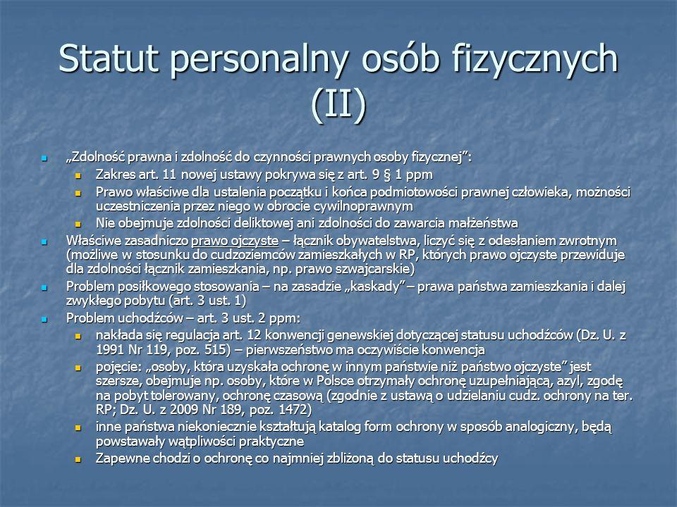 Statut personalny osób fizycznych (II)