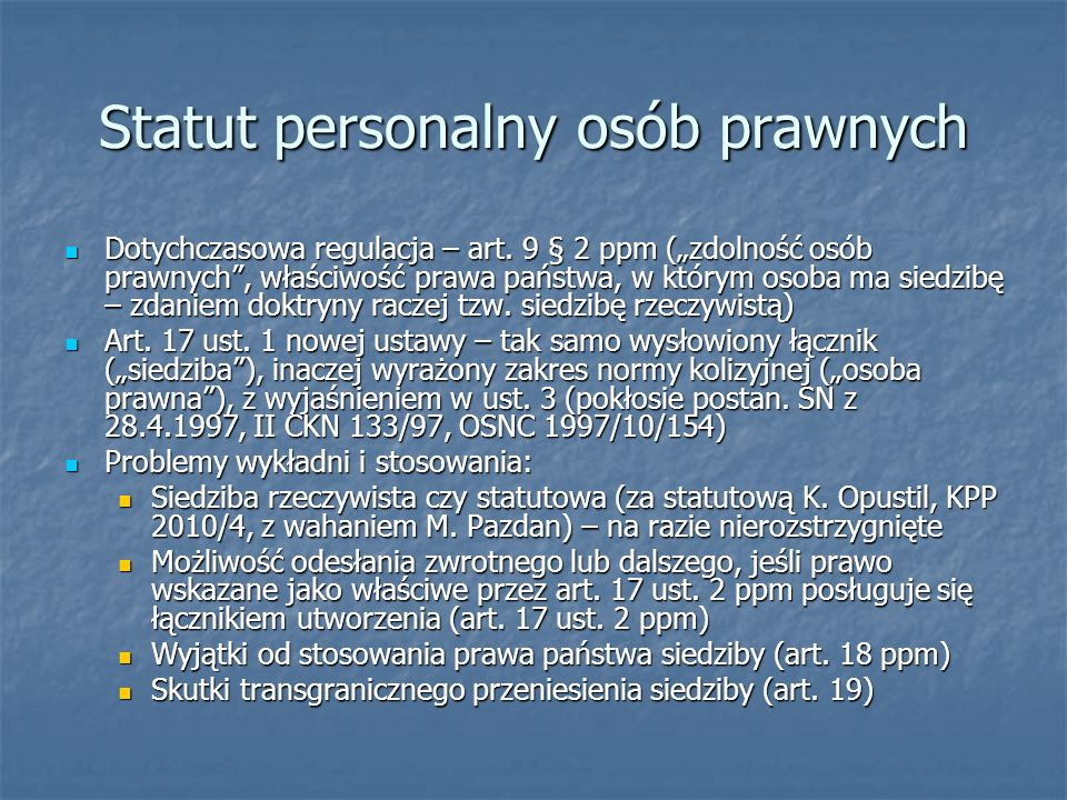 Statut personalny osób prawnych