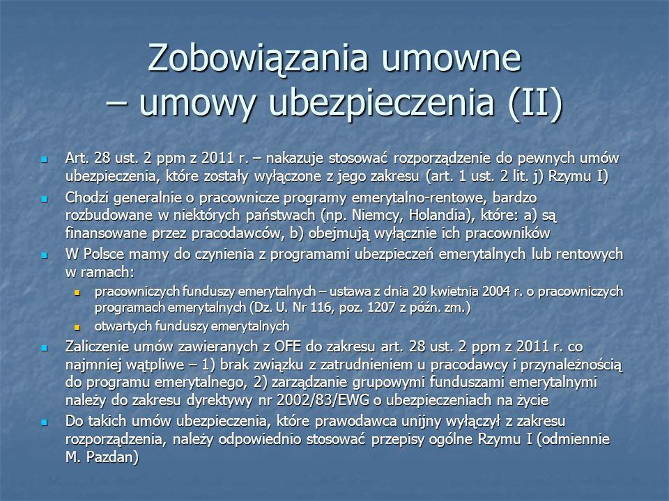 Zobowiązania umowne – umowy ubezpieczenia (II)