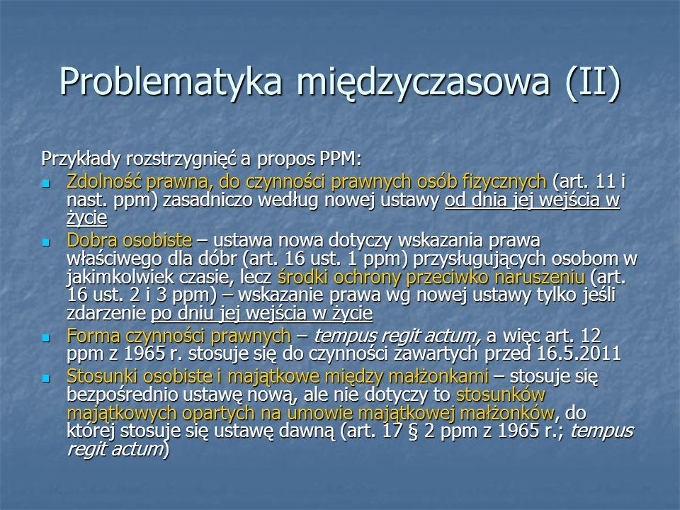 Problematyka międzyczasowa (II)