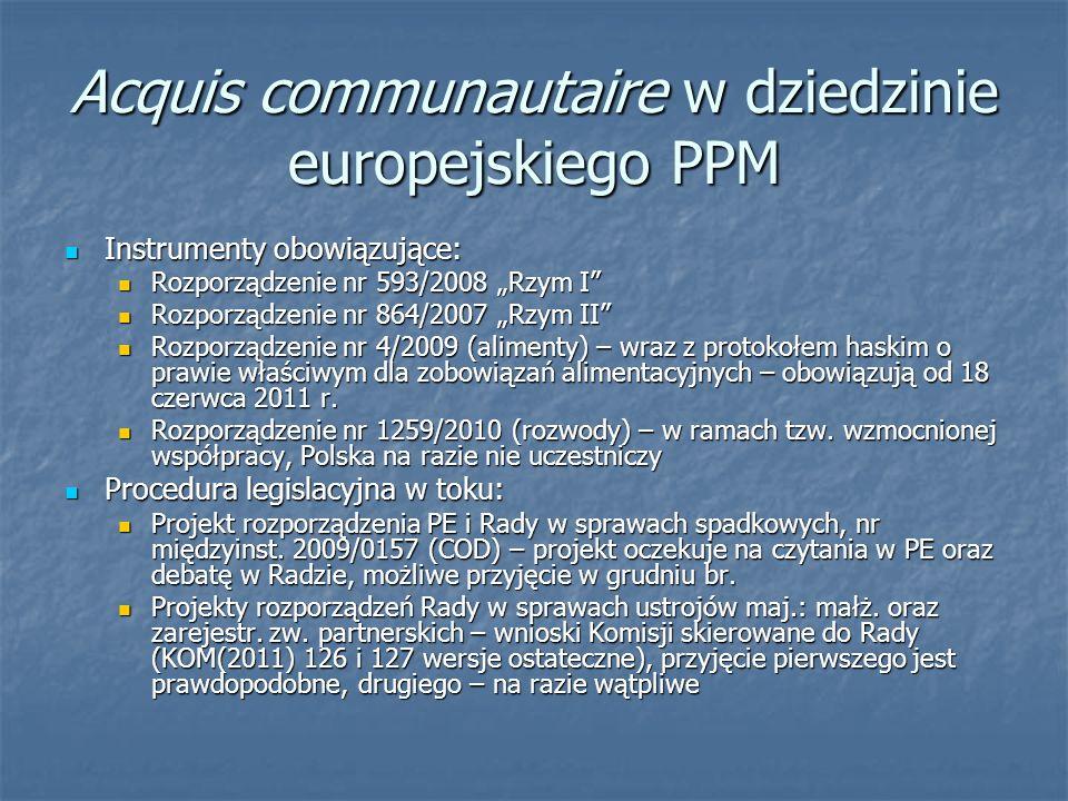 Acquis communautaire w dziedzinie europejskiego PPM