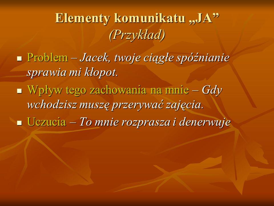 """Elementy komunikatu """"JA (Przykład)"""