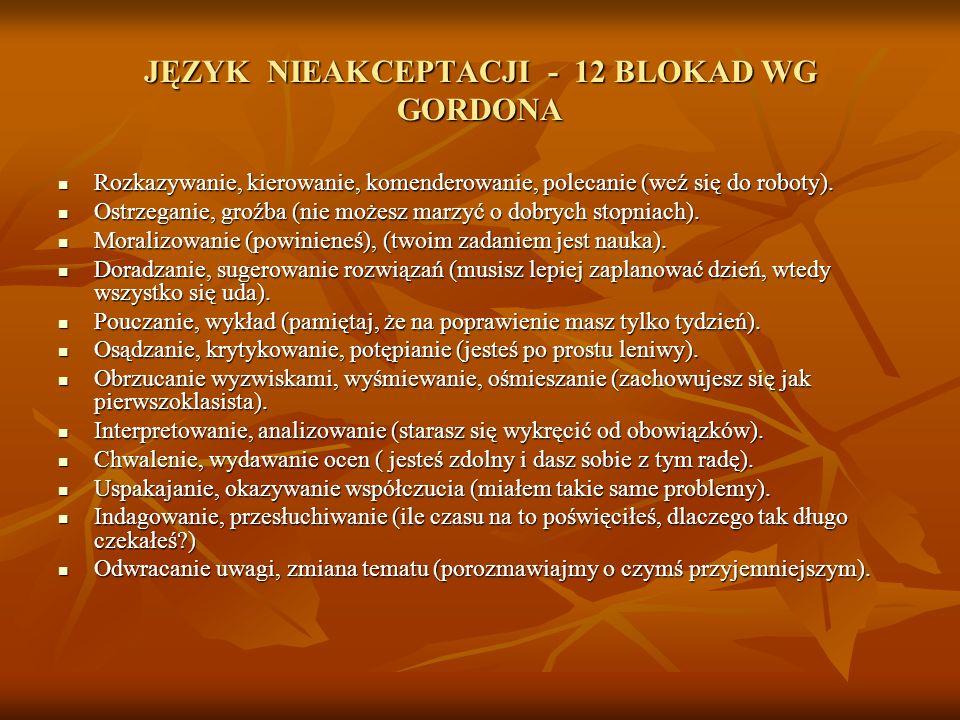 JĘZYK NIEAKCEPTACJI - 12 BLOKAD WG GORDONA