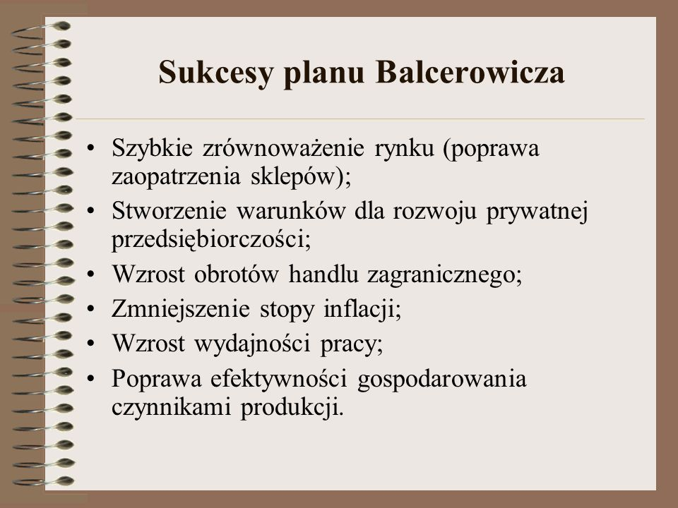 Sukcesy planu Balcerowicza
