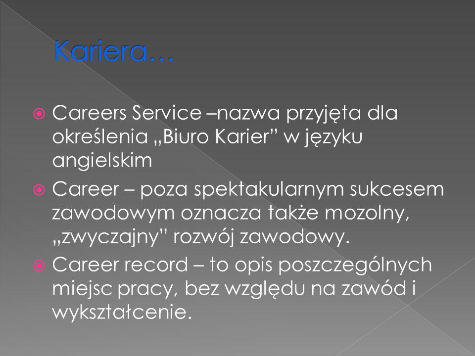 """Kariera… Careers Service –nazwa przyjęta dla określenia """"Biuro Karier w języku angielskim."""